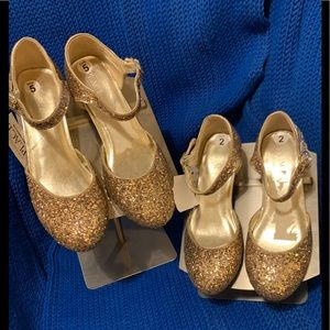 NEW W/TAG CHILDREN PLACE TWO PR GOLD GLITTER SHOES